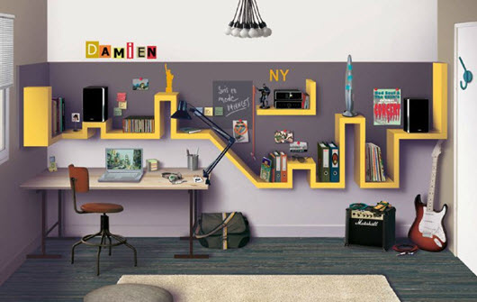d co chambre new york jaune. Black Bedroom Furniture Sets. Home Design Ideas